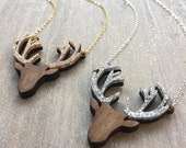 Festive, sparkly, christmas, acrylic and glitter, Stags head Necklace