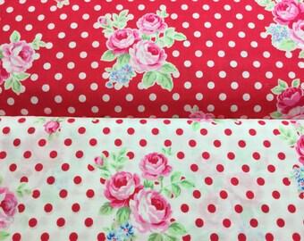 FQ ~ Half Yard~ 3/4 Yard ~ By the Yard ~  Flower Sugar, Polka Dot Rose, 31375-30 and 31375-33, Lecien Cotton Quilt Fabrics