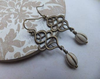Chinese Knot and Vintage Ivory Oval with Gold Inlay Antique Bronze Nickel Free Earrings