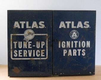 Vintage Industrial Hanging Metal Cabinet • Atlas Automotive Metal Cupboard • Tune-Up Service