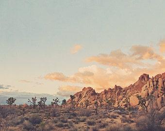 Joshua Tree, desert photography, California wall art, Joshua Tree nursery decor, pink, blue, sunset photo, Myan Soffia