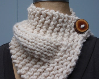 Hand Knit Button Up Neck Cozy Scarf with Handmade Wood Button in Cream