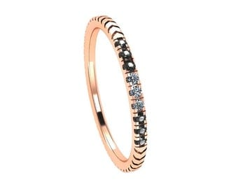 Unique Diamond Wedding Band, 14k Rose Gold Ring With Black And White Diamonds And Grooved Design