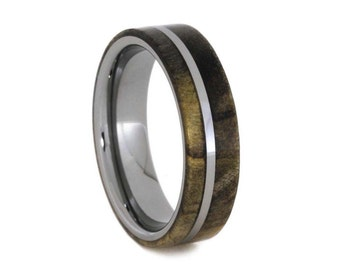 Mens Tungsten Wedding Band With Exotic Wood By Jewelrybyjohan