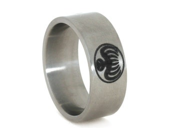 James Bond Ring, Titanium Ring With Engraving, Spectre Ring For Men or Women