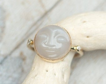 Moonstone Ring, 14k Gold Carved Moonstone Ring