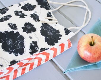 Insulated Organic Cotton Lunch Bag -- Black & White Flowers with Coral Chevron -- PLASTIC FREE!