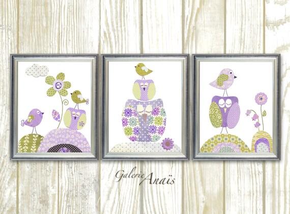 Owls Nursery art baby Girl Nursery Decor Birds nursery wall art bird kids wall art purple lanvender nursery Set of 3 Prints