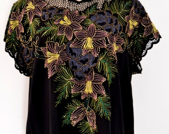 Beautiful Beaded, Embroidered Cutwork Vintage Top from Bali