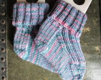 Hand Knit Socks, Toddler, Pink, Blue, Teal