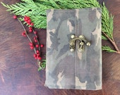 Refillable camo leather notebook