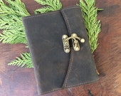 Rugged brown leather journal with reclaimed leather and recycled paper by Binding Bee