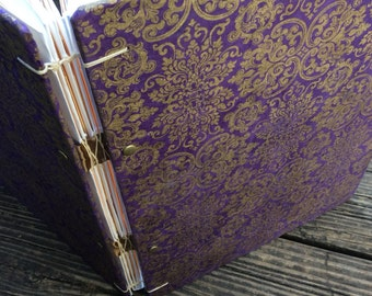 Purple and Gold Ready To Ship Library Card Wedding Guest Book