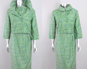 vintage silk paisely dress suit | vintage 1960s suit | silk 60s suit
