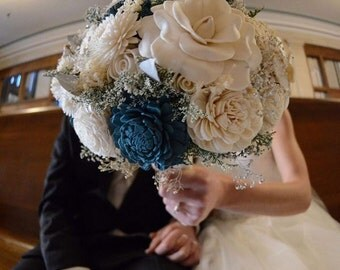 Teal and Ivory Wedding Bouquet made with sola flowers - choose colors - bridal bouquet - Alternative bouquet - bridesmaids bouquet
