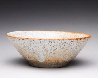 handmade ceramic bowl, serving bowl, stoneware bowl with white shino glaze