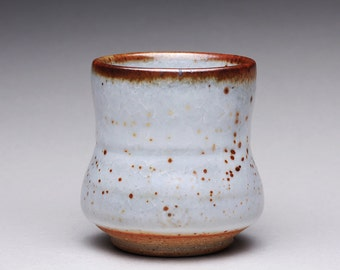 handmade pottery cup, ceramic teacup, yunomi, espresso cup with white carbon trap shino glazes