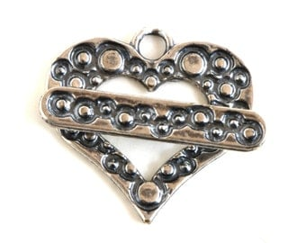 Heart Silver Plated Toggle Clasp 43510 (1) Silver Jewelry Clasp, Heart Toggle Clasp, Necklace Toggle Clasp, Bracelet Toggle Clasp