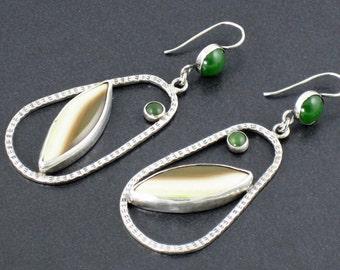 Imperial Jasper Jade Hoop Earrings, hoops, brown green, sterling silver, hoop earrings, jasper earrings, jade earrings, michele grady