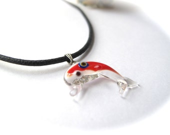 Red Dolphin Evil Eye Pendant