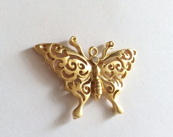 1 pc- Matte 22K Gold Plated Base Butterfly Charm - Butterfly 45x30mm-(007-054))