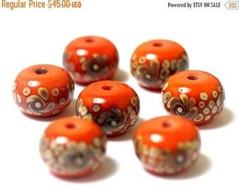 ON SALE 35% OFF Handmade Glass Lampwork Bead Set - Seven Coral w/Beige Rondelle Beads 11102701