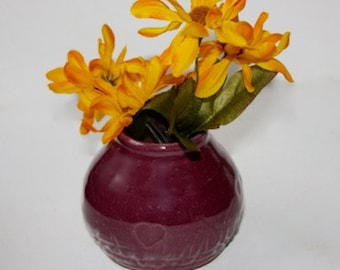Bud Vase with Hearts in Stoneware Glazed Purple for Miniature Bouquet Pod Shaped OOAK