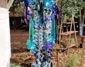 Reserved for Rose - Peacock Antique Crystal Wind Chime, Bohemian Crystal Wind Chime, Garden Decor, Crystal Mobile, Home Decor