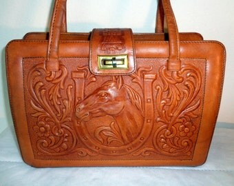 Mont Abur Vintage Boston bag Hand tooled hand carved thick cow leather bag  horse  and floral theme  from 80s gorgeous