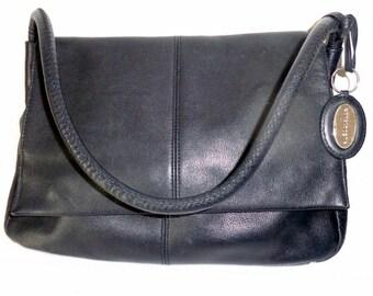 Vintage  messenger bag satchel shoulder bag  thick pebbled black leather braided stitched strap pristine condition