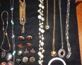 Retro Jewelry Necklaces and Earrings 30 piece Mixed Lot Craft Indy