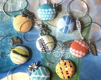 Handmade Wine Charms Yellow Pink Blue Green Summer Scandinavian Prints Floral Flowers Fabric Button Valentine Mother Day Wine Charms 8's