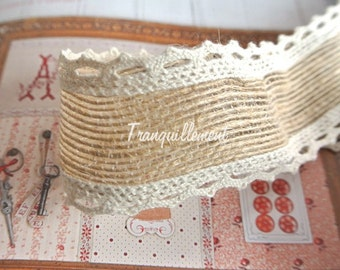 2 Yards Large Wide Beige Cream Lace Rustic Country Wedding Party Pot Decorations  Burlap Linen Hemp Jute Ribbon Trim 1.6 Inches / 4 cm