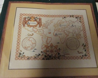 Elsa Williams Counted Cross Stitch Kit Ancient World Map 02073 Complete and Ready to Stitch