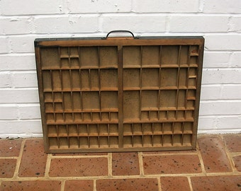 Antique Vintage Printers Wooden Tray Antique Vintage Printers Drawer Shadow Box Letterpress Tray 82 Sections