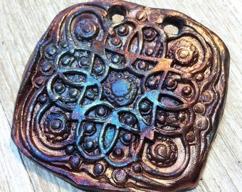 182. Wondrousstrange Design Raku Primitive Celtic Earthenware  Pendant Blue Gold Bronze Cosplay Medieval