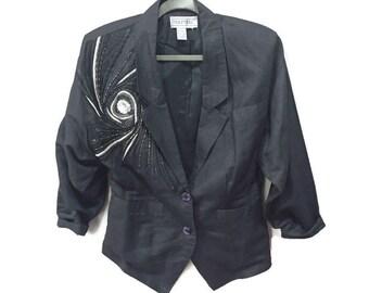 Vintage 80s Blazer, Beaded Black Linen Jacket, Vintage Beaded Blazer, Black 1980s Blazer, Beaded Linen Blazer, Sequined 80s Formal Jacket