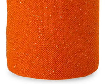 54 x 15 yd  Bolt of Top Quality  GLITTER Tulle Bolt --ORANGE