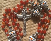 in Love Sale Handmade Orange Agate and Lamp Work Beaded Catholic Rosary, Custom Rosary, Rosary Necklace, One of a Kind Rosary