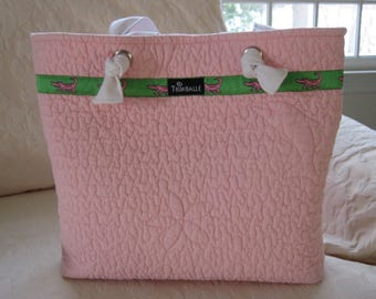 Medium Quilted Tote, Quilted Beach Bag, Pink with Alligator Ribbon Trim and Surfboard Lining, Cotton Tote
