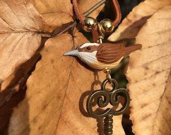 Carolina Wren Necklace with Key