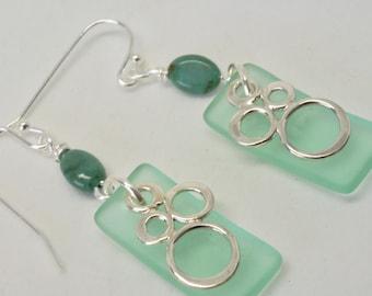 Light Green Earrings, Sterling Silver Bubble Earrings, Sea Glass Earrings, Geometric Earrings, Pastel Geometric Jewelry, Boho Beach Earrings