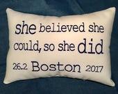 BOSTON Marathon - Embroidered Pillow