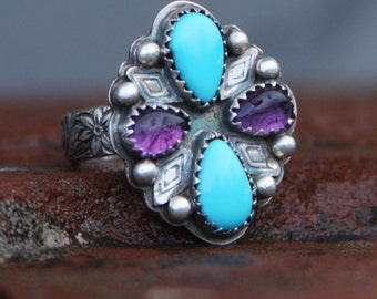 sleeping beauty turquoise, amethyst and sterling silver starburst cocktail ring size 7 1/4