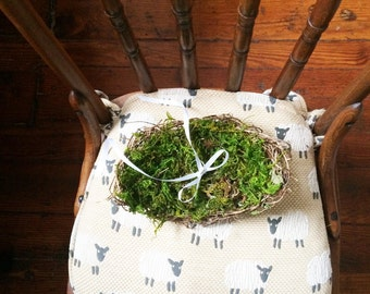 Mossy Ring Bearer Pillow Alternative, Rustic Country, Cottage Wedding, Wicker Tray, Mossy Nest