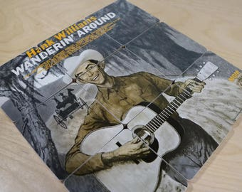 Hank Williams handmade wood coasters and vinyl bowl created from recycled Wanderin' Around record album