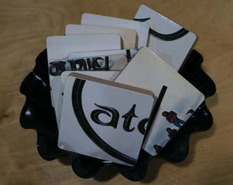 Cate Brothers Band handmade wood coasters and vinyl bowl created from recycled 1977 record album