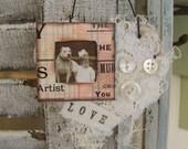 Shabby White Decor Heart Ornament Vintage Dog Ornament Vintage Style Dog Decor  Cottage Style Ornament Antique Paper Heart Ornament
