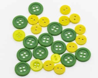 Lime and Green Plastic Buttons, 2 hole, 4 hole - FREE WITH 10.00 PURCHASE