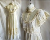 Vintage 70s Gunne Sax Dress Size S Cream Hippie Boho Prairie Wedding Prom